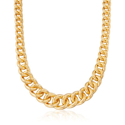 Italian Andiamo 14kt Yellow Gold Graduated Curb-Link Chain Necklace, , default