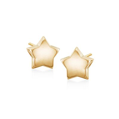 14kt Yellow Gold Star Stud Earrings, , default