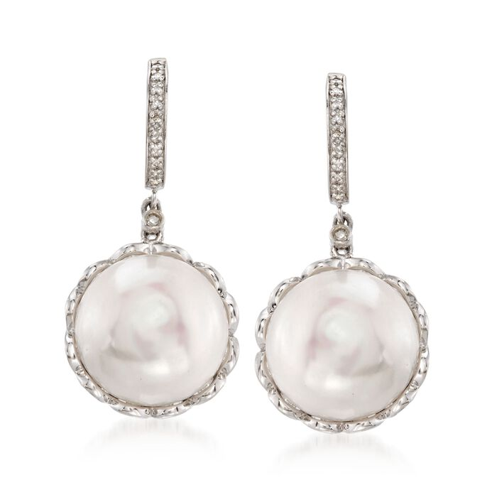f4021fe1c4942 14-15mm Cultured Pearl Drop Earrings With Diamond Accents in Sterling Silver