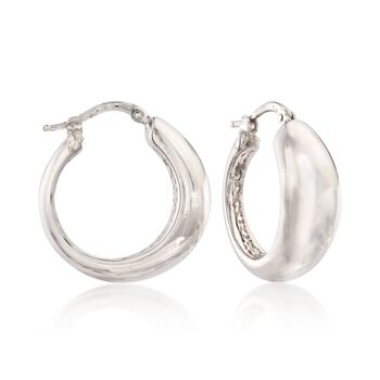 "Italian Sterling Silver Tapered Hoop Earrings. 7/8"", , default"