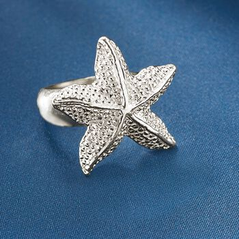 Sterling Silver Textured Starfish Ring, , default