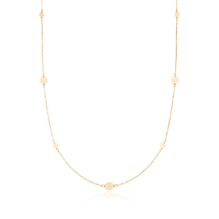 Italian 14kt Yellow Gold Disc Station Necklace, , default