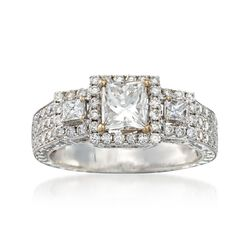 C. 2000 Vintage 2.31 ct. t.w. Princess-Cut and Round Diamond Engagement Ring in 18kt White Gold. Size 6.5, , default