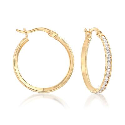 1.45 ct. t.w. CZ Hoop Earrings in 14kt Yellow Gold, , default
