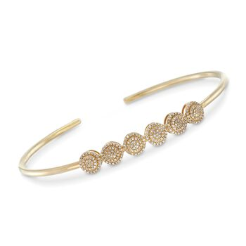 ".33 ct. t.w. Pave Diamond Multi-Circle Cuff Bracelet in 14kt Yellow Gold. 7.5"", , default"