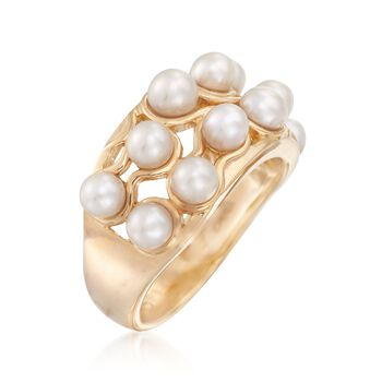 3.5-4.5mm Cultured Pearl Two-Row Ring in 18kt Gold Over Sterling, , default