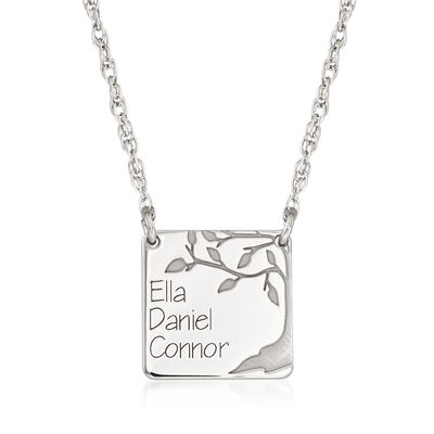 Sterling Silver Three-Name Square Family Tree Necklace, , default
