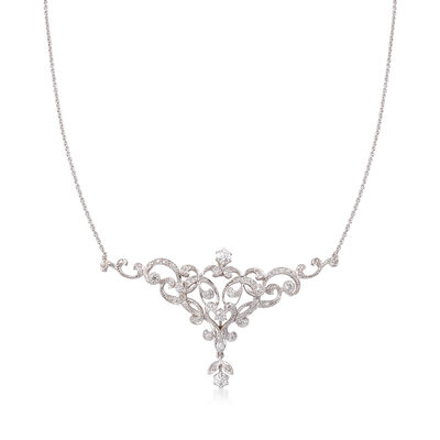C. 1980 Vintage 4.01 ct. t.w. Diamond Swirl Necklace in 18kt White Gold and Platinum, , default