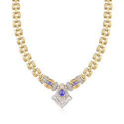 "C. 1990 Vintage 1.70 ct. t.w. Tanzanite and 1.00 ct. t.w. Diamond ""V"" Drop Necklace in 14kt Two-Tone Gold. 16.25"", , default"