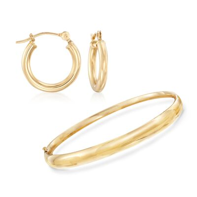 14kt Yellow Gold Polished Bangle Bracelet with Free Small Hoop Earrings, , default