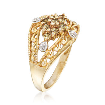 C. 1990 Vintage .50 ct. t.w. White Topaz Floral Ring With Diamond Accents in 10kt Yellow Gold. Size 7, , default