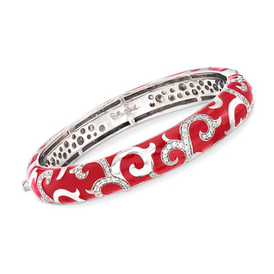 "Belle Etoile ""Royale"" Red Enamel and 2.33 ct. t.w. CZ Bangle Bracelet in Sterling Silver, , default"