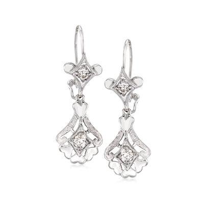 C. 2000 Vintage .40 ct. t.w. Diamond Heart Earrings in 14kt White Gold, , default