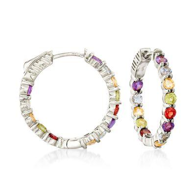 2.80 ct. t.w. Multi-Stone Inside-Outside Hoop Earrings in Sterling Silver, , default