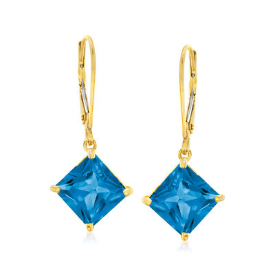 6.25 ct. t.w. London Blue Topaz Drop Earrings in 14kt Yellow Gold