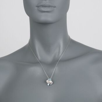 """6.5-8mm Cultured Pearl and 1.58 ct. t.w. Multi-Stone Cluster Pendant Necklace in Sterling Silver. 18"""""""