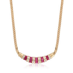 C. 1990 Vintage 2.00 ct. t.w. Ruby and .75 ct. t.w. Diamond Bib Necklace in 14kt Yellow Gold. 173, , default