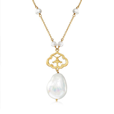 4-16mm Cultured Pearl Drop and Station Necklace in 18kt Gold Over Sterling
