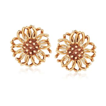 C. 1970 Vintage Tiffany Jewelry 14kt Yellow Gold Floral Clip-On Earrings, , default