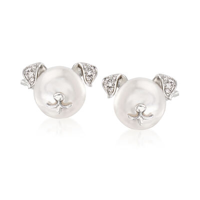 8-8.5mm Cultured Pearl Dog Earrings with Diamond Accents in Sterling Silver, , default