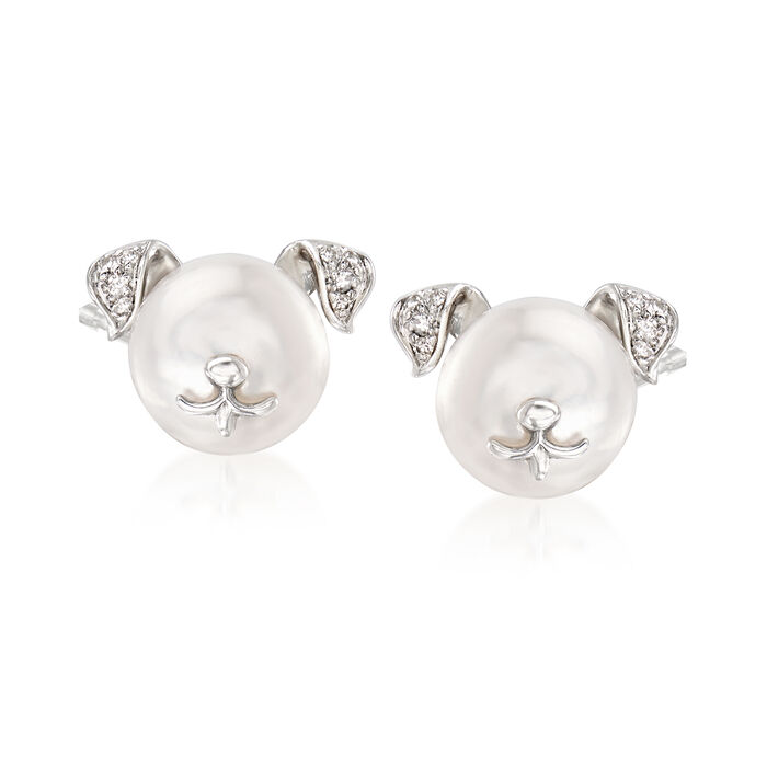8-8.5mm Cultured Pearl Dog Earrings with Diamond Accents in Sterling Silver