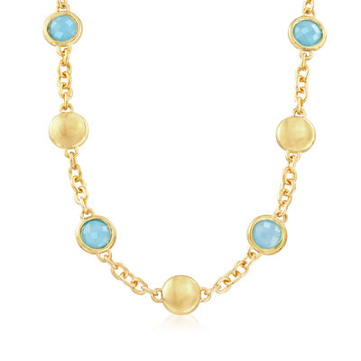 Italian Andiamo Blue Chalcedony Bezel Set Necklace in 14kt Yellow Gold, , default