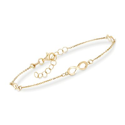 Italian 14kt Yellow Gold Infinity Station Bracelet, , default