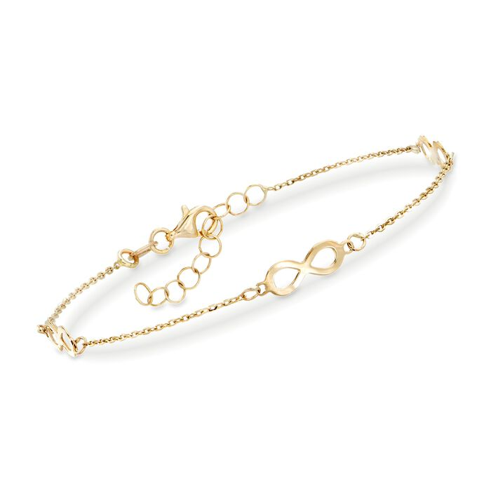 "Italian 14kt Yellow Gold Infinity Station Bracelet. 7"", , default"