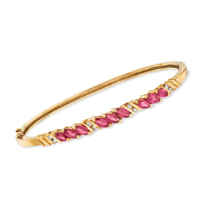 """C. 1980 Vintage 2.70 ct. t.w. Ruby and .20 ct. t.w. Diamond Bangle Bracelet in 14kt Yellow Gold. 7"""", , default"""