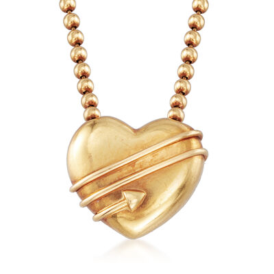 C. 1994 Vintage Tiffany Jewelry 18kt Yellow Gold Beaded Heart Necklace, , default