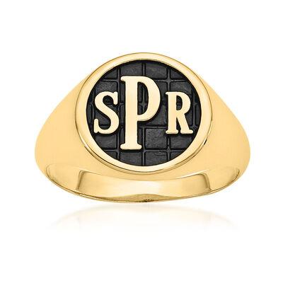 14kt Yellow Gold Antiqued Monogram Signet Ring