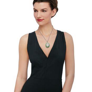 Green Jade Teardrop Pendant Necklace in Sterling Silver, , default