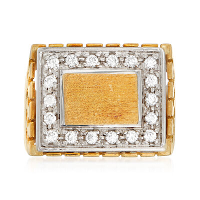 C. 1980 Vintage Men's .55 ct. t.w. CZ Square-Top Ring in 18kt Yellow Gold, , default