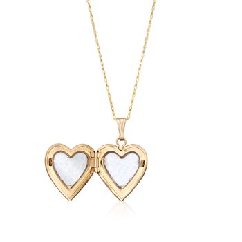 """Child's 14kt Yellow Gold Heart Locket Necklace With Floral Engraving. 15"""", , default"""