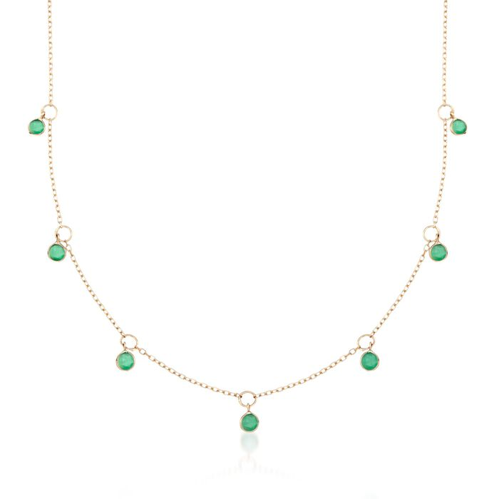 2.25 ct. t.w. Emerald Station Necklace in 14kt Yellow Gold
