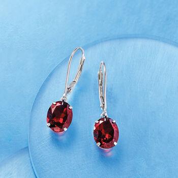 5.50 ct. t.w. Garnet Drop Earrings in Sterling Silver.
