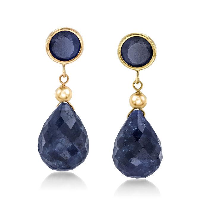 11.00 ct. t.w. Sapphire Drop Earrings in 14kt Yellow Gold