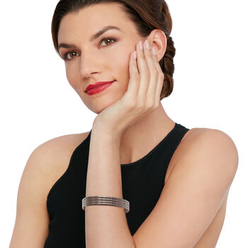 Italian Black Rhodium Over Sterling Jewelry Set: Four Textured Bangle Bracelets, , default