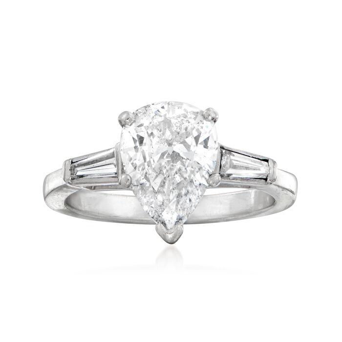 C. 1990 Vintage 1.90 ct. t.w. Diamond Ring in Platinum. Size 5