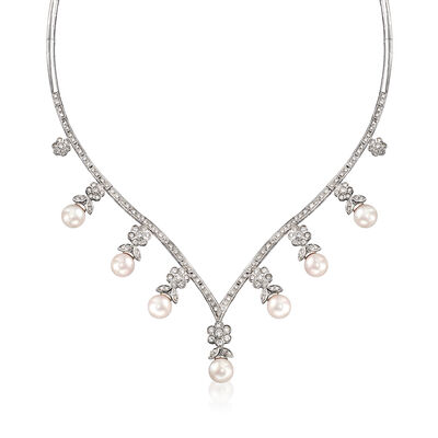 C. 1990 Vintage 8x8.5mm Cultured Pearl and 3.00 ct. t.w. Diamond V-Shaped Necklace in 18kt White Gold