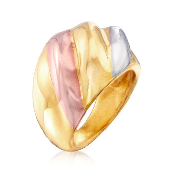Italian Andiamo 14kt Tri-Colored Gold Over Resin Ring, , default