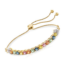 3.30 ct. t.w. Multicolored Sapphire and .10 ct. t.w. Diamond Bolo Bracelet in 14kt Yellow Gold, , default