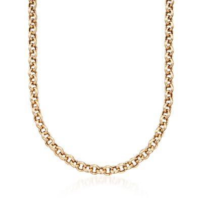 14kt Yellow Gold Over Sterling Silver Rolo-Link Necklace