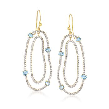 5.50 ct. t.w. White and Blue Topaz Free-Form Drop Earrings in 18kt Gold Over Sterling, , default