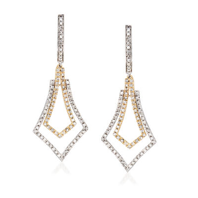 1.00 ct. t.w. Diamond Drop Earrings in Sterling Silver and 14kt Yellow Gold, , default