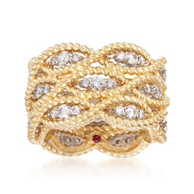 "Roberto Coin ""Barocco"" 1.40 ct. t.w. Diamond Braided Ring in 18kt Yellow Gold, , default"
