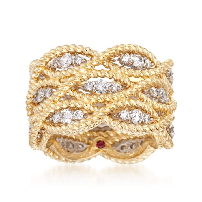 """Roberto Coin """"Barocco"""" 1.40 ct. t.w. Diamond Braided Ring in 18kt Yellow Gold. Size 7, , default"""