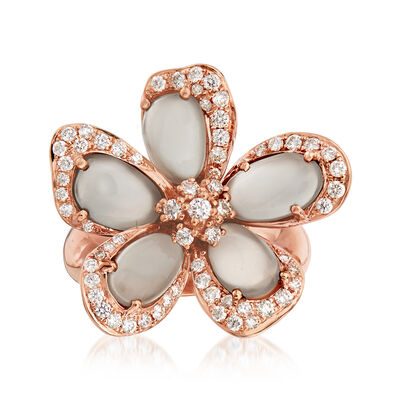 C. 1990 Vintage Piero Milano Gray Moonstone and .75 ct. t.w. Diamond Flower Ring in 18kt Rose Gold, , default