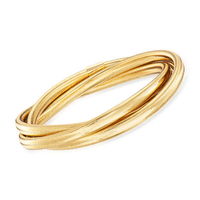 Italian Flex Rolling Bangle with 14kt Yellow Gold , , default