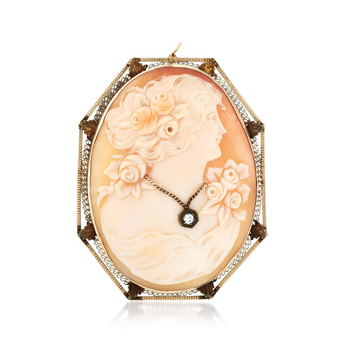 C. 1960 Vintage Pink Shell Cameo Pin Pendant with Diamond Accent in 14kt White Gold